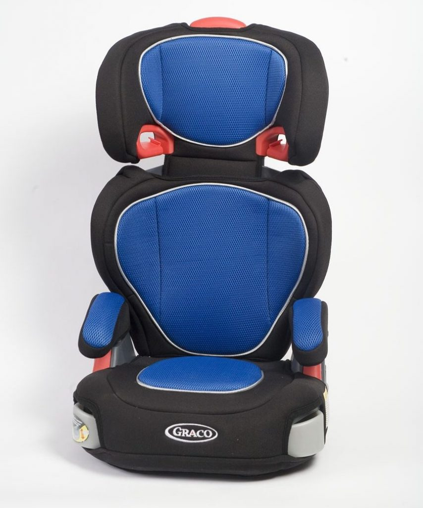 A high-back booster seat with shoulder strap slots