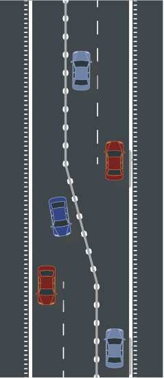road design with 2+1 roads and rumble strips