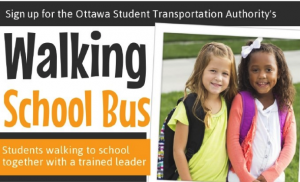 Walking School Bus poster shows two young children wearing backpacks