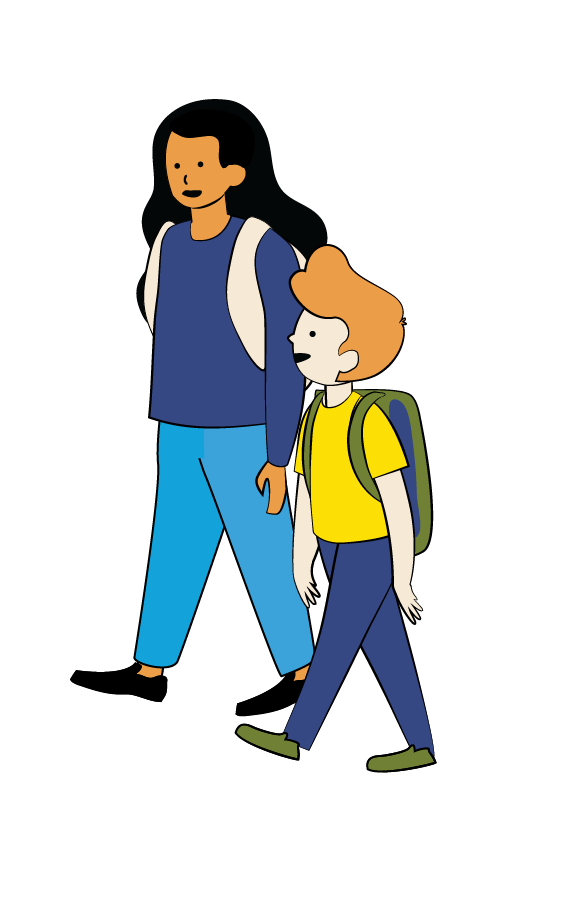 Illustration of older girl and younger boy walking