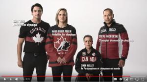 Les 4 athlètes à la fin de la vidéo PSA