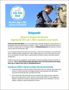 Image of Safe Kids Week 2021 Backgrounder
